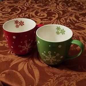 Starbucks Coffee Cups Mugs Holiday Snowflakes 2007